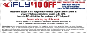 Ifly Hollywood Coupon $10 off