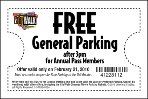 Universal CityWalk Hollywood Free Parking Coupon