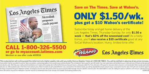 La times obituary coupon code